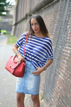 Striped tee and denim skirt