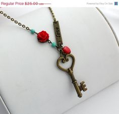 SHOP SALE Love is the Key to My Heart Necklace. by WearitoutJewelz, $22.50