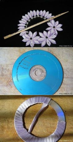Very nice tiebacks from the CD. Diy Bottle, Bottle Crafts, Diy Home Crafts, Easy Crafts, Recycled Cd Crafts, Recycled Glass, Rideaux Design, Cd Diy, Fabric Ornaments