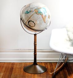 Every home should have a globe ~ I have two ~ one just like this ~ they are decorative and educational ~