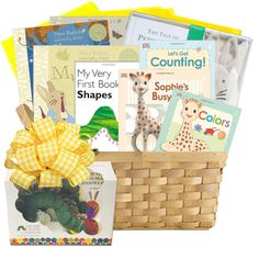 First Library Baby Books Gift Basket $200.00 themed baby gift basket with Peter Rabbit, Very Hungry Caterpillas, Sophie the Giraffe classic children's books.  Free ground shipping on this baby gift basket.