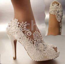"3""4"" heel satin white ivory lace pearls open toe Wedding shoes bride size 5-9.5"