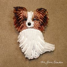 Sitting Happy PAPILLON dog - beaded art pin/ pendant (Made to Order)