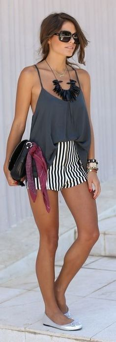 Grey Cami + Striped Shorts