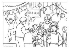 Chinese New Year Gifts Colouring Page