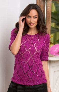 Diamond Girl Top Free Knitting Pattern from Red Heart Yarns