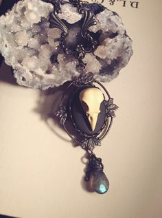 Resin bird skull necklace with Labradorite by BellhouseJewelry