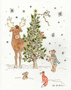 whimsical christmas painting | Christmas inspired woodland painting. | Fanciful and whimsical things ...