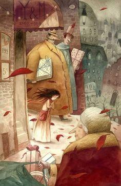 Hans Christian Andersen,The Little Match Girl. Illustration by Jose Sanabria The Little Match Girl, Art And Illustration, Illustrations Posters, Fantasy Kunst, Fantasy Art, Art Magique, Photo Images, Art Moderne, Amazing Art
