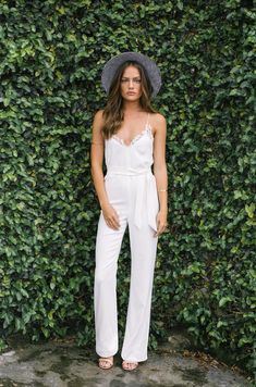White Jumpsuit with Lace Camisole