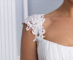 Detachable venice lace appliquéd straps. Beaded. Would be a lovely addition to your strapless gown for some support, or a 2nd look. Have these custom made on Etsy by Rosemarydesignsbride
