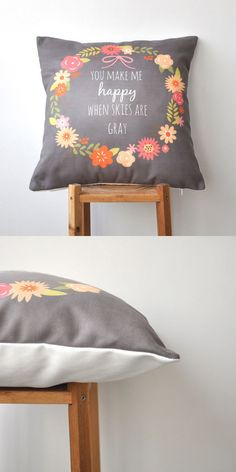 We love this decorative pillow cover with a chalkboard look.