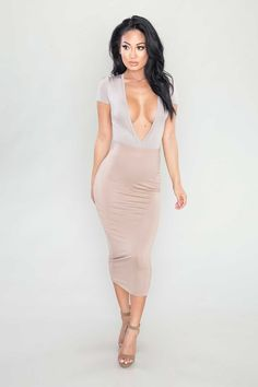 All Time Low Plunging Bodysuit - Taupe All Time Low, All About Time, Plunge Bodysuit, Taupe, Short Sleeves, Bodycon Dress, Color, Dresses, Fashion