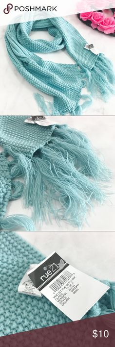 Steel Blue Tassel Scarf Brand new with tags!   PRODUCT DETAILS: •Size: One Size •Colors: Steel Blue •Made in China •Hand Wash •100% acrylic •Tassel Detailing •Open Knit Design  Tags: Wrap winter fall Rue 21 Accessories Scarves & Wraps