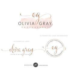 Watercolor Logo Design, Rose gold Branding kit, Photography logo, Watermark, Premade Branding Package, Custom Logo Design, Branding kit 69