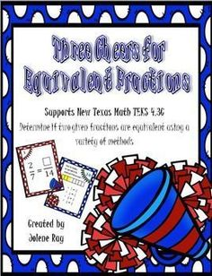 This product, which consists of 24 colorful task cards, a game board, an answer key and an answer document, supports the following 4th grade newly revised Texas Math TEKS: 4.2C -  determine if two fractions are equivalent using a variety of methods.These task cards will help your students to practice generating and recognizing equivalent fractions.Use these task cards in math stations, small group guided math lessons, for early finishers, morning work, or as a whole group review, such as a…