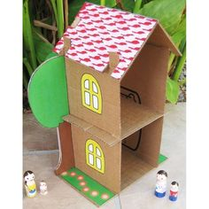 Cardboard Dollhouse PDF Pattern Recycle by DollsAndDaydreams Recycle Cardboard Box, Cardboard Box Crafts, Cardboard Toys, Paper Crafts For Kids, Cardboard Playhouse, Cardboard Furniture, Cardboard Dollhouse, Cardboard Castle, Cardboard Box Houses