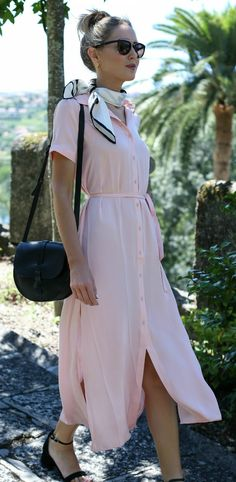 pink maxi shirtdress, silk neck scarf, black crossbody bag, black ankle strap block heels, sunglasses + messy bun {l'academie, kate spade new york, steve madden} {Portugal travel guide}