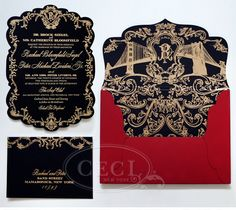 Luxury Wedding Invitations by Ceci New York - Our Muse - Opulent Baroque Wedding - Be inspired by Rachael and Peter's opulent, black-and-gol...