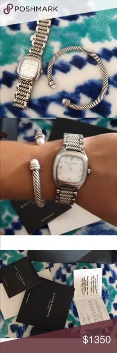 david yurman watch w cable bracelet watch has papers bracelet is pearl w little