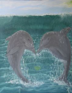 Dolphins in love. Acrylic on canvas
