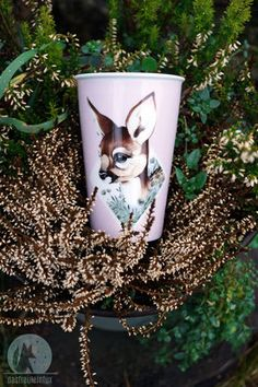 coffee to go cup - porcelain - freuleinfux  www.beloved-creatures.com/shop #coffeetogo #coffeelove #coffeetime #deer #ohmydeer #deerlove #coffeemug #coffeelover #freuleinfux