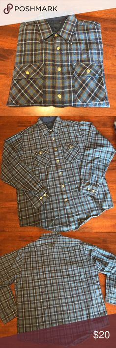 "VTG Sears Flannel Shirt Vintage Sears Plaid Flannel Button Down Shirt featuring a pocket above each breast. Colors of Shirt include light & dark blue, khaki Green, red, and ivory. Tag reads size ""Large,"" however, depending on look, it can fit a range of sizes. Prices for VTG items are FIRM‼️ Vintage Tops Button Down Shirts"