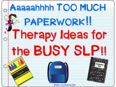 The Dabbling Speechie: Therapy Ideas for the BUSY SLP!! What to do when IEP's and assessments take over your therapy planning time. Pinned by SOS Inc. Resources. Follow all our boards at pinterest.com/sostherapy for therapy resources.