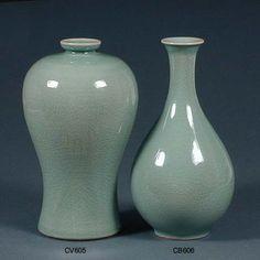 Vase and Bottle rich celadon crackled jade and green glaze