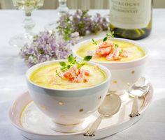 Rekesuppe til fest Shrimp Soup, Danish Food, Starters, Panna Cotta, Food And Drink, Pudding, Dinner, Fest, Ethnic Recipes