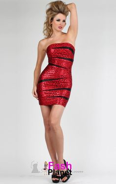 Short Strapless Prom Dress With Contrast Slashing Short Strapless Prom Dresses, Strapless Cocktail Dresses, Homecoming Dresses, Day Dresses, Plus Size Dresses, Plus Size Outfits, Evening Dresses, Animal Print Mini Dresses, Hot Dress
