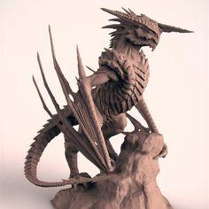 Art by Andreas Werchmeister #dragon #dragonsculpture #magic #mysticalcreatue #monster #creature #conceptart #fantasyart #mythological #alien #dragonwings