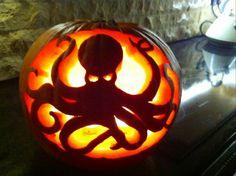 Pumpkin Carving Halloween Octopus Curves Design
