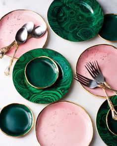 Ring Dish in Malachite with Gold Rim – Suite One Studio