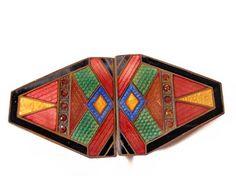 1930s Guilloche Enamel Buckle Intricate