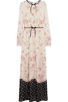 REDValentino Printed stretch-silk chiffon maxi dress | THE OUTNET