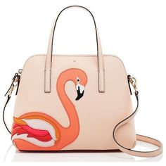 kate spade new york Kate Spade Strut Your Stuff Flamingo Applique... ($278) ❤ liked on Polyvore featuring bags, handbags, purses, sac, decorating bags, pink bag, animal handbags, pink handbags and embellished handbags