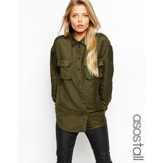 ASOS TALL Military Shirt With Pockets featuring polyvore, fashion, clothing, tops, khaki, pocket shirt, asos shirt, military fashion, asos tops and pocket tops