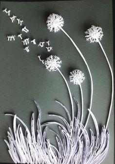White paper dandelion, 37 x 52 cm