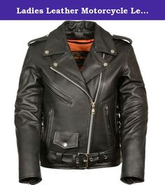 Ladies Leather Motorcycle Leather Jacket plain sides. The LC 2701 is a beautiful women's classic leather jacket . It has half belt and crossover snap down collar. It runs longer than usual and comes in regualr and plus sizes. A must have for fashion and great for riding on the motorcycle. Made with top grade leather.