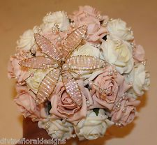 WEDDING FLOWERS - VINTAGE BOUQUET, PINK & IVORY ROSES WITH PEARLS