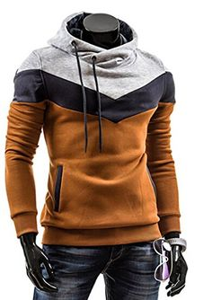 Men's Oblique Zipper Hoodie Casual Top Coat Slim Fit Jacket 938 Coffee+Light Grey