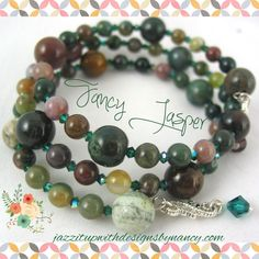 Fancy Jasper Earth tone color gemstone Bracelet and Earring Set Green Crystals - by Nancy of Jazz It Up With Designs By Nancy