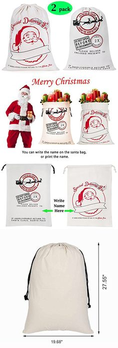 2 pack large santa sack christmas gift bag with drawstring 19 7 x 27 6 inch for storing