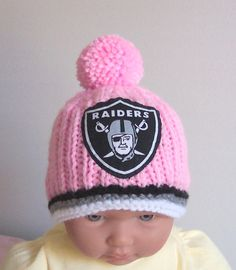 e585c702b81 Custom Hand made knit NFL Girls Oakland Raiders PINK baby hat 0-12M- cute