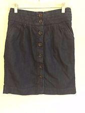 9863)  PILCRO AND THE LETTERPRESS sz 2 denim jean skirt front buttons above knee