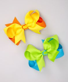 Take a look at this Neon Green & Yellow Bow Clip Set by Fairy Bow Mother on #zulily today!