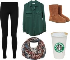 Such a cute outfit for fall-- gotta have your Starbucks #commonwhitegirl