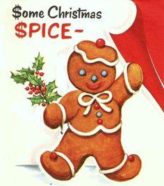 Gingerbread Boy Vintage Christmas Card