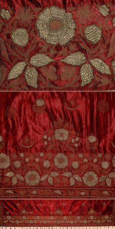 """sweetpeapath:  antique Turkish embroidery courtesy of Textiles as Art Ottoman Silk Embroidery with gold plated silver thread.Ottoman Dynasty1453-1922A.D Size 88"""" x 22""""Size 224 x 56cm"""